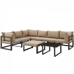 Modway EEI-1735-BRN-MOC-SET Fortuna 8 Piece Outdoor Patio Sectional Sofa Set In