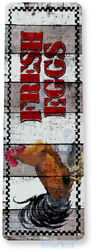 Fresh Eggs Rooster Farm Hen House Chicken Coop Rustic Decor Tin Sign B497 $7.25