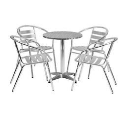 Bistro Dining Set Indoor Outdoor Patio Garden Furniture Chairs Round Table 5 Pcs