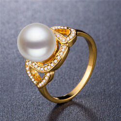Elegant 18k Yellow Gold Plated Round Cut White Pearl Wedding Ring Size 6-10