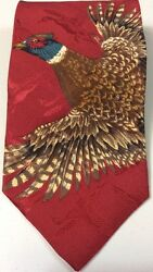 Field And Stream Red Silk Detailed Necktie Hunting Duck Pheasants In Flight USA