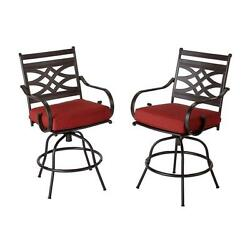Outdoor Patio Furniture Bar Stool w Red Cushions Heavy Duty Height Chair 2 Pack