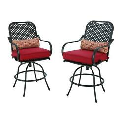 Outdoor Lawn Yard Furniture 2 Pack Bar Height Patio Dining Chair Chili Cushion
