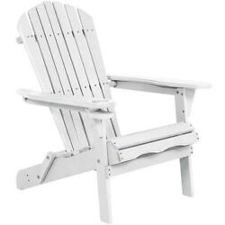 Outdoor Patio Wood Adirondack Folding Chair Lounge wCup Holder Garden Furniture
