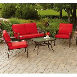 Patio Bistro Table And Chairs Conversation Set 4pc Outdoor Garden Red Furniture