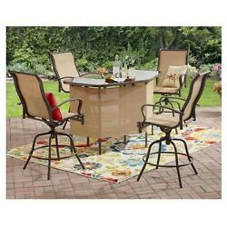 Garden Patio Furniture Outdoor Pool Height Bistro Bar Set 5 Piece Table Chairs