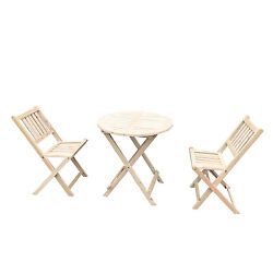 3PCS Wooden Folding Chair and Table Outdoor Garden Seats Indoor Deck Furniture