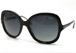 CHANEL 5320 A Sunglasses Coco Mark Black Butterfly Ladies Free Ship Mint #0665
