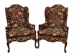 Ethan Allen Pair of Upholstered Queen Anne Fireside Wing Chairs