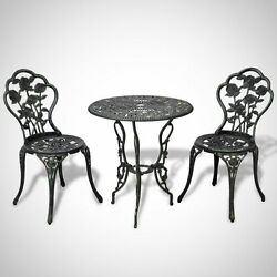 Outdoor Bistro Set Table Antique Green Cast Iron Chair Patio Furniture Dining