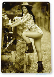 Brushhog Pin up Girl Hot Cowgirl Tractor Farm Rustic Decor Tin Sign B552 $8.95