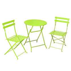 Folding Bright Green Table Chair 3pc Out Door Bistro Dining Set Patio Back Yard