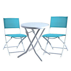 Folding Bistro Table Chair Set Outdoor Patio Garden Seat Steel Frame Glass Top