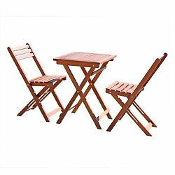 Folding Wood Bistro Set Portable Dining Square Table Chair Outdoor Patio Garden