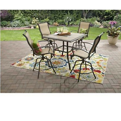 5 Piece Patio Dining Set Counter Height Chairs Table Garden Outdoor Furniture