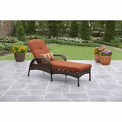 Outdoor Chaise Lounge Adjustable Pool Chair Cushion Garden Patio Yard Furniture