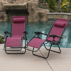Set Of 2 Outdoor Chaise Lounge Folding Chair Patio Garden Furniture Cushion Deck