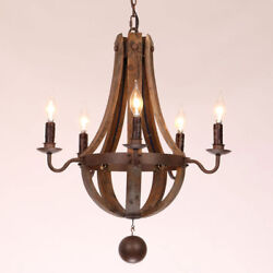 Rustic Wine Barrel Stave  Wood & Rust Metal Chandelier with Candle Light Ceiling