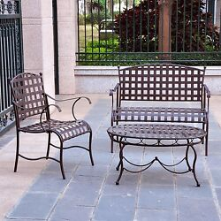 3-Piece Wrought Iron Patio Furniture Lounge Table Chair Seating Group Set