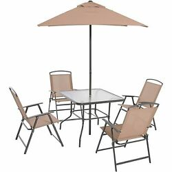 Patio Dinning Set Outdoor Furniture Table Folding Chairs Umbrella Garden 6 Piece