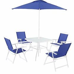 6 Piece Patio Dinning Set Outdoor Garden Furniture Folding Chairs Table Umbrella
