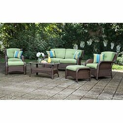 Patio Furniture Outdoor 6 Piece Resin Wicker Set All Weather Cushions Durable