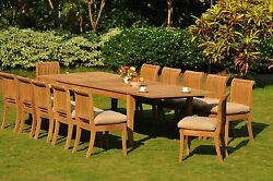 Giva A-Grade Teak 13 Pc Dining Atnas Rectangle Table Armless Chair Outdoor Set