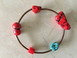 beautiful handmade turquoise red coral and copper bead bracelet - new