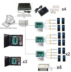 16 Doors Magnetic Door Access Control Systems Metal Power Supply Box RFID Reader