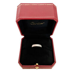 AUTH CARTIER LOVE Diamond Paved Ring 18k WT Gold B4083400 Sz 53  6.25 RTL $7100