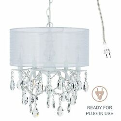 5-Light White Crystal Chandelier with Drum Shade Plug In Lighting Fixture Lamp
