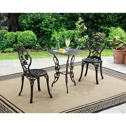 Bistro Set 3-Piece Rustic Metal Antique Bronze Round Table 2-Chairs Garden Patio