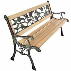 Patio Outdoor Park Vintage Wooden and Iron Garden Bench w Rose Pattern Backrest