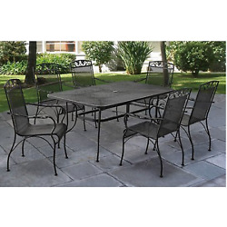 7 Piece Patio Dining Set Chairs Table Wrought Iron Outdoor Garden Furniture Yard
