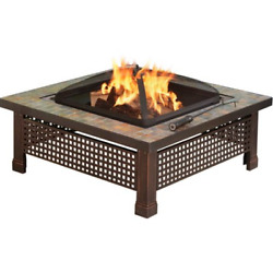Outdoor Square Fire Pit Convertible Table Patio Wood Burning w Mesh Spark Cover