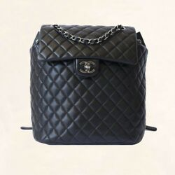 BNIB LARGE CHANEL LEATHER LAMBSKIN BLACK QUILTED SILVER HDW BACKPACK  2017