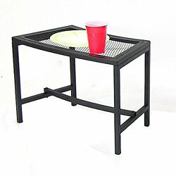 Patio Side Table Black Metal Mesh Lightweight Curved Design Outdoor Furniture