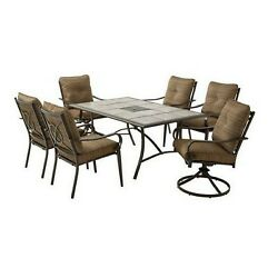 Outdoor Patio Dining Set 7 Piece Steel Chair Tail Table Lawn Garden Furniture