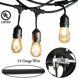 Outdoor String Lights - 48 Feet Long Heavy Duty Hanging Market Patio Cafe