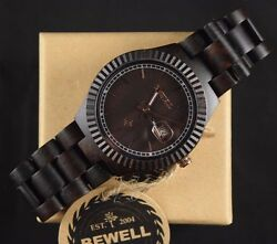 Women's Casual Wooden Watch Black Sandal Wood Round Face With Date - By Bewell