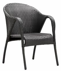Modern Designer  Outdoor Patio Dining Chair Gray Weave Rattan (set of 2) 3062