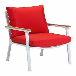 Modern Designer Stylish Outdoor Patio Arm Chair ( Set of 2 ) Red Fabric 3092