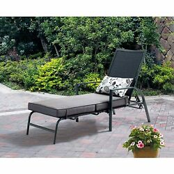 Outdoor Chaise Lounge Chair Seat w Adjustable Back Deck Patio Furniture in Gray