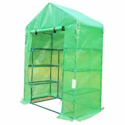 Outdoor 8 Shelf Walk-In Greenhouse Plastic Cover Metal Frame Garden Storage Shed