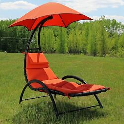 Outdoor Hanging Chaise Lounge Chair Pool Patio Hammock Swing Canopy Arc Stand