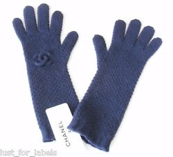CHANEL Navy Blue 100% Cashmere Gloves NWT Mittens for Cold Winter One Size