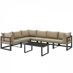Modway EEI-1737-BRN-MOC-SET Fortuna 7 Piece Outdoor Patio Sectional Sofa Set In