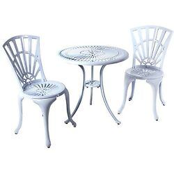 River Cottage Gardens PB601WHT White Cast Aluminum Bistro Table and Chairs 3-...