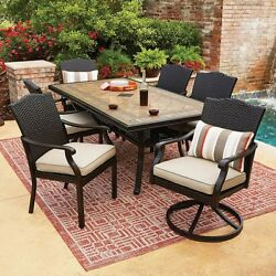 Wicker Patio Furniture Set 7 Piece All-Weather Dining Table Chairs Clearance NEW