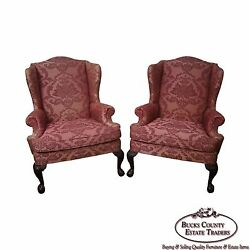 Quality Pair of Chippendale Ball & Claw Foot Mahogany Wing Chairs by Woodmark